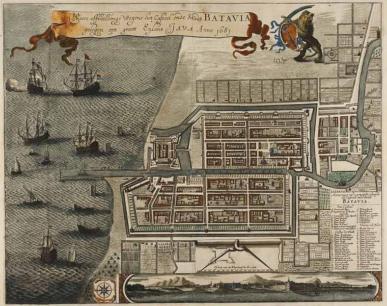 Map of the Castle and the City of Batavia, on the island of Java (now Jakarta, Indonesia)