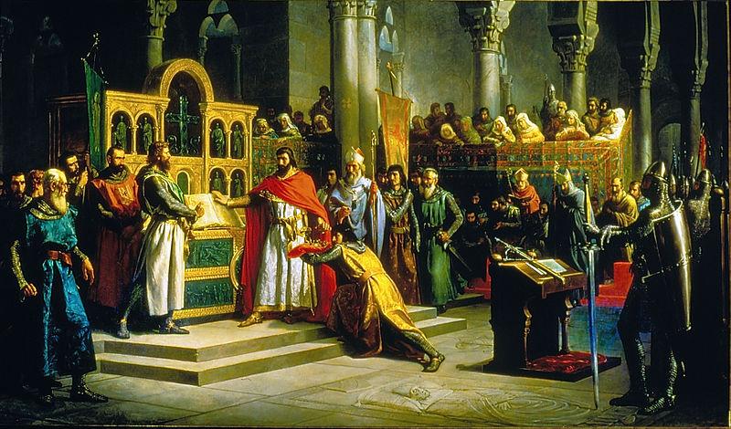 Painting by Marcos Giráldez de Acosta. Alfonso VI, king of Castile and Leon, swearing in the church of Santa Gadea de Burgos, before Rodrigo Diaz de Vivar.