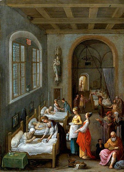 Saint Elizabeth of Hungary Bringing Food for the patients of a Hospital. Painting by Adam Elsheimer.