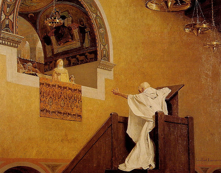 Painting of St. John Chrysostom comfronting Aelia Eudoxia, Empress of Constantinople by Jean-Paul Laurens.