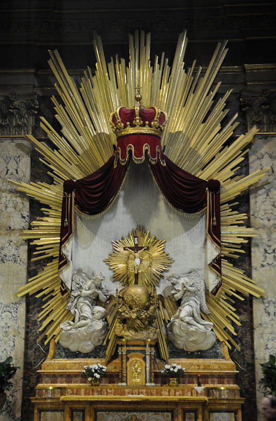 The Main Altar at the church of SS. Claudius and Andrew of the Burgundians in Rome. St. Pierre-Julien Eymard, founder of the Congregation of the Blessed Sacrament, is buried here.