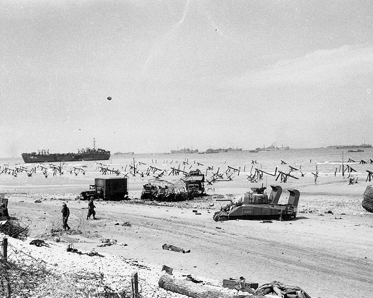 Scene on Omaha Beach during the afternoon of June 6, 1944