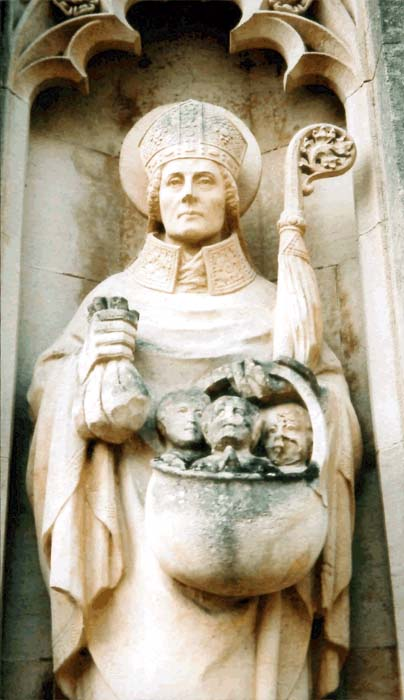 Statue of St. Nicholas at Our Lady of Lourdes Catholic Church in  Harpenden, England.