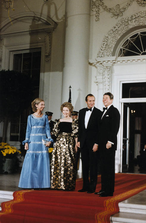 President Reagan and Mrs. Reagan greet King Juan Carlos I and Queen Sophia of Spain for the State Dinner, October 13th, 1981.
