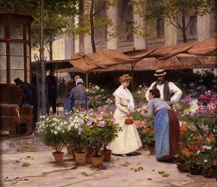 The flower market by  Victor Gabriel Gilbert