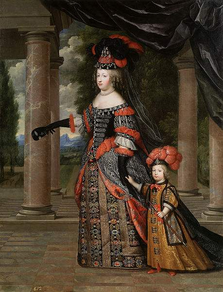 Queen Marie Thérèse and her son the Dauphin of France, painted by Charles Beaubrun.