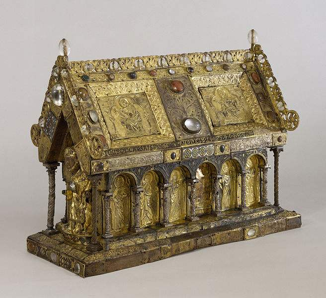 Shrine of Saint Amandus, which once housed his relics, is now at the Walters Art Museum in Baltimore, Maryland. Originally from Elnone Monastery in Tournai, Belgium, it was bequeathed to the Museum by Henry Walters in 1931.