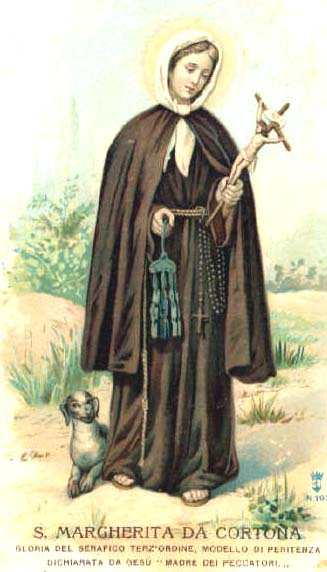 """Our Lord told St. Margaret of Cortona, """"Thou are the third light granted to the order of my beloved Francis. He was the first, among the Friars Minor: Clare was the second, among the nuns: thou shalt be the third, in the Order of Penance."""""""