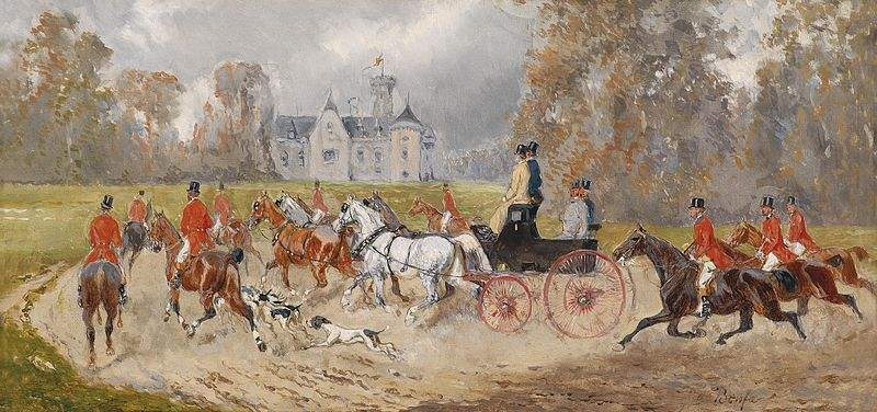 Returning to the Castle after the hunt. Painting by Alexander von Bensa