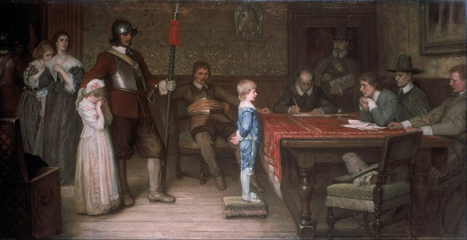 Painting by W. F. Yeames, shows a Royalist family who have been captured by the enemy. The boy is being questioned about the whereabouts of his father by a panel of Parliamentarians.