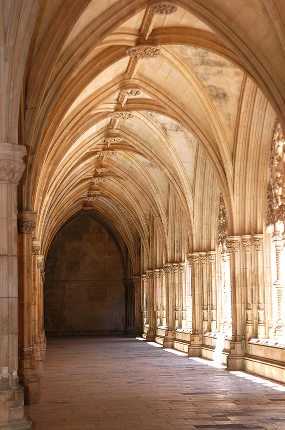 Royal Cloister at the Batalha Monastery, which is in the Gothic Stlye and built between 1448 and 1477.