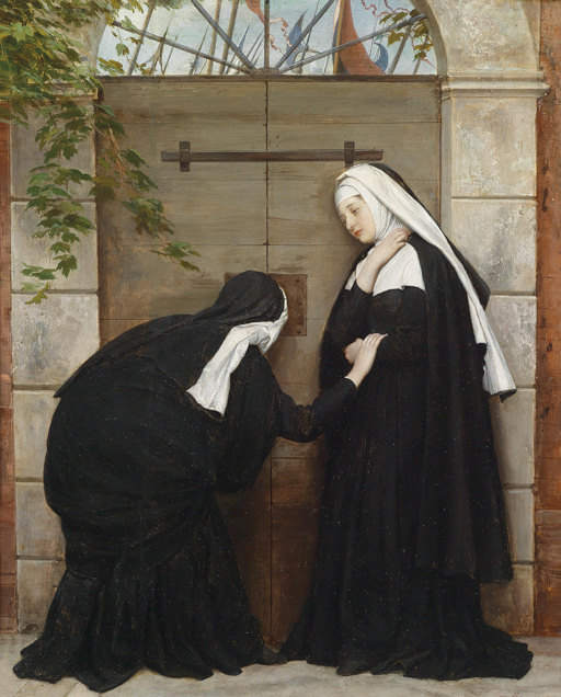 "French Revolutionaries at the Carmelite gate. ""Nuns under Threat"", painting by Eugene de Blaas."