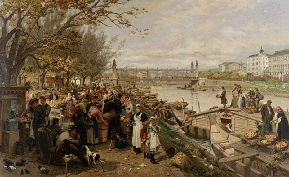 Fruit market in Schazel, near the Maria Theresa Bridge, Vienna, 1895 by Alois Schonn