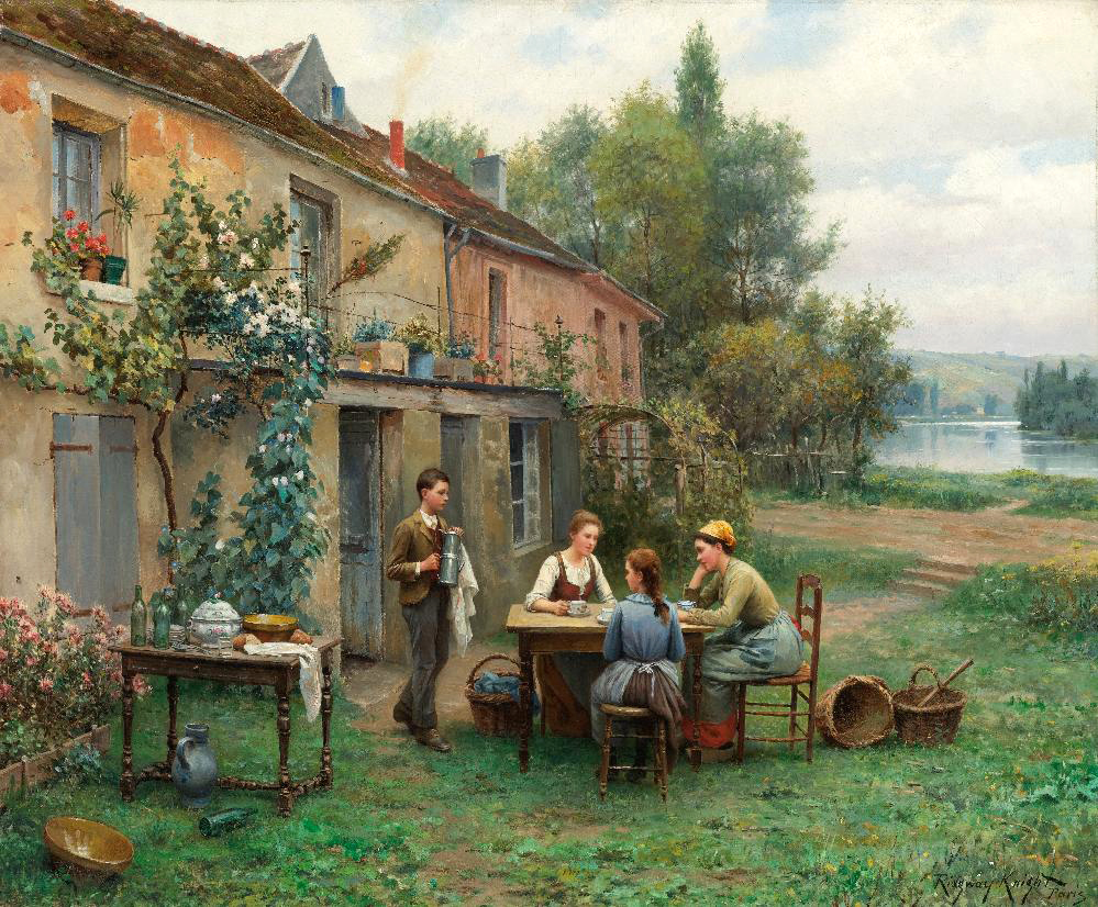 Coffee in the Garden, painted by Daniel Ridgway Knight.