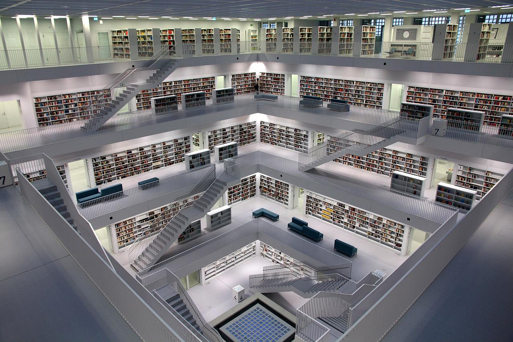 The 2011 Stuttgart City Library, in Stuttgart, Germany, designed by the Korean architect Eun Young Yi is a 9-story cubed building. Photo by Steffen Ramsaier.