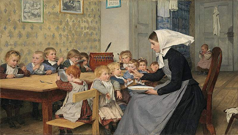 The nursery at the orphanage. Painting by Albert Anker