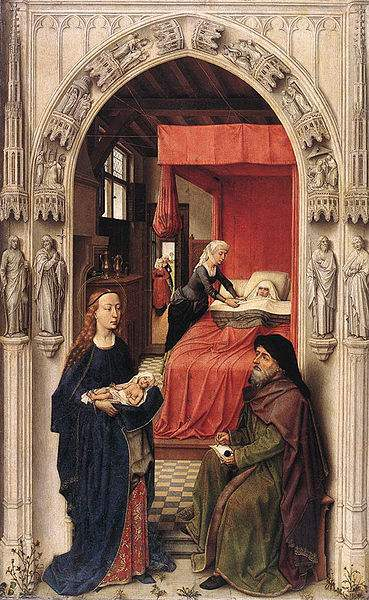 The birth and naming of John the Baptist, painted by Rogier van der Weyden.