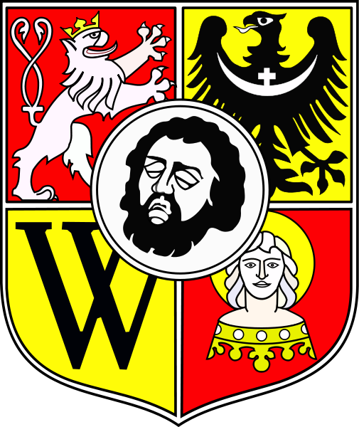 The Coat of arms of the City of Wrocław, Poland, which features the severed head of St. John the Baptist, the city's patron Saint.