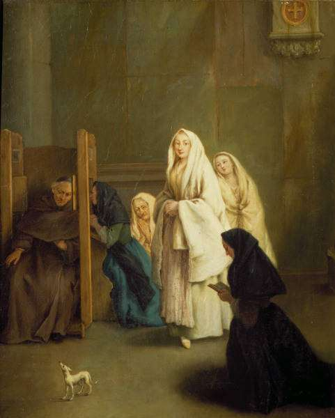 Confession, painted by Pietro Longhi.
