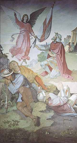 The Archangel St. Gabriel appearing to Godfrey of Bouillon telling to march on Jerusalem, promising him victory. Painting by Johann Friedrich Overbeck