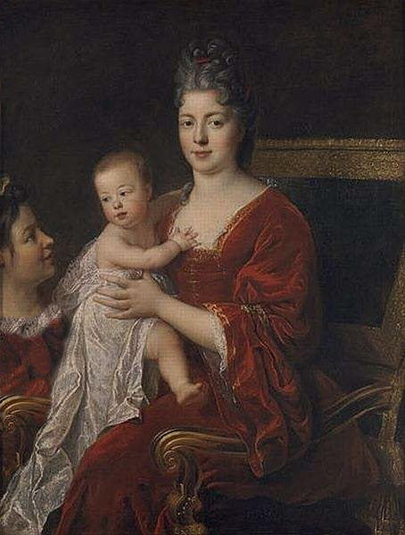 Portrait of the Dauphine of France, Princess Marie Adélaïde of Savoy with her son, the future Louis XV.