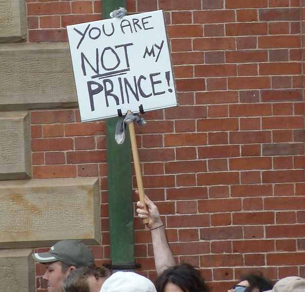 Photo of an Anti-Monarchial protestor by Sara Star, during the 2011 Royal tour of Canada.