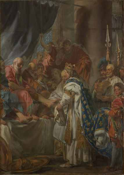 St. Louis washing the feet of the poor. Painting by Louis Jean-Jacques Durameau.