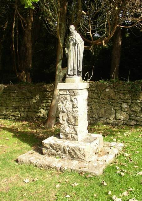 Statue of St. Samson of Dol on Caldey Island. Photo by Humphrey Bolton.