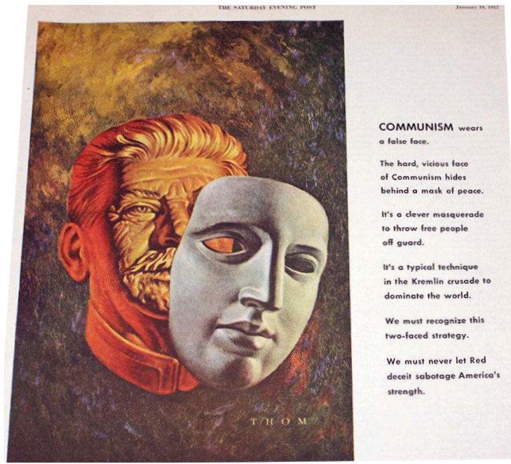 A 1952 Ad of the  False Face of Communism in the Saturday Evening Post Magazine.