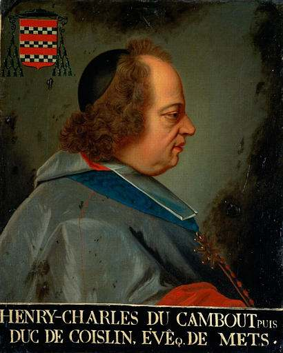Portrait of Most Rev. Henri Charles du Cambout de Coislin (1665-1732), Bishop of Metz from 1697 to 1732, and duc de Coislin from 1710.