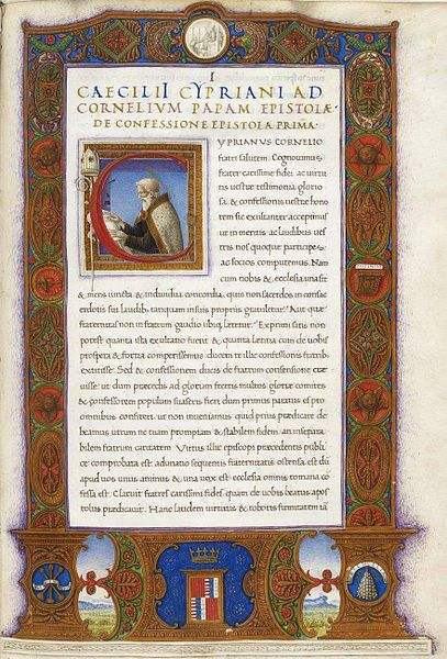 Illustration of a Catalanoaragonese manuscript of Saint Cyprian's Epistolae