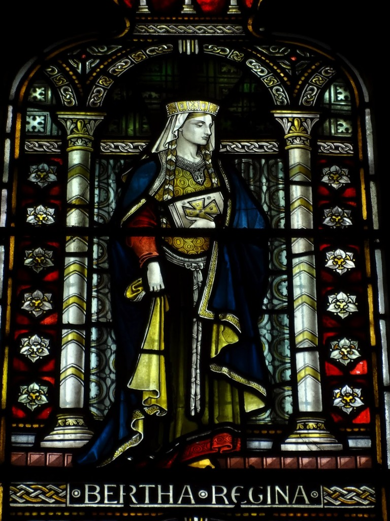 Stained glass window of St. Bertha at St Martin's Church, Canterbury. Photo taken by Clerk of Oxford.