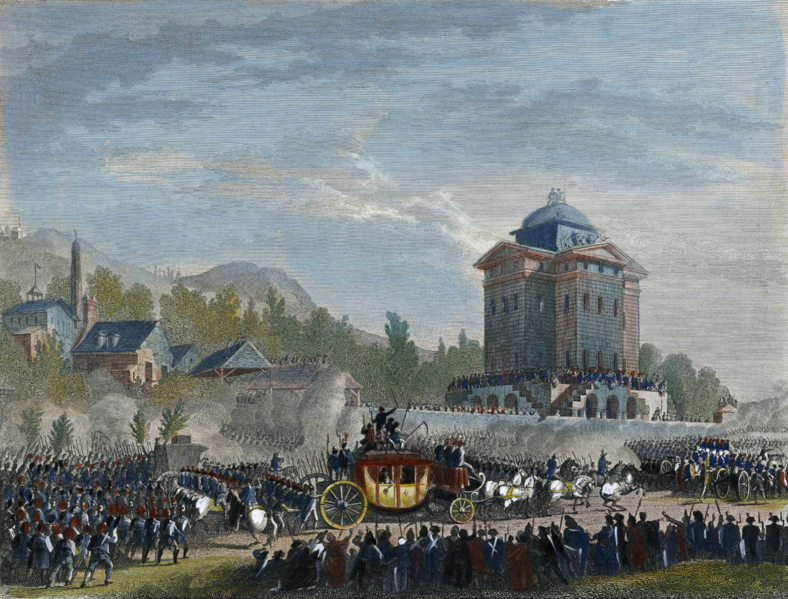 The return of the royal family to Paris on 25 June 1791. Painting by Jean Duplessis-Bertaux.