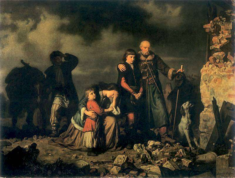 Painting by Leopold Loeffler of a family that lost everything due to war.