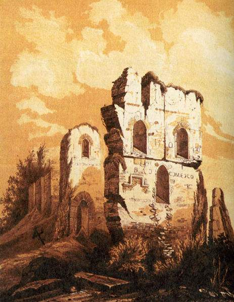 Church of the Dormition of the Virgin (also called Church of the Tithes) in ruins.  It was the first stone Church in Kiev. The church was ruined in 1240 during the siege of Kiev by Mongol armies of Batu Khan in 1240. Grand Prince Vladimir (Volodymyr) the Great, set aside a tithe of his income and property to finance the church's construction and maintenance, which gave the church its popular name. the church was rebuilt in the mid 19th century, but in 1928 it was once again destroyed by the Soviet regime.