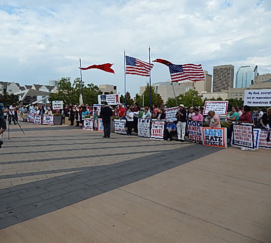 Protestors from around the US came to protest the Satanic Black Mass in Oklahoma City, OK 2014.