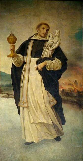 St. Hyacinth carrying the Blessed Sacrament and the statue of Our Lady across the waters.