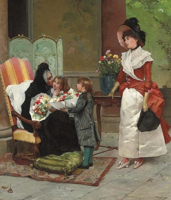 The family visit by Emile Auguste Pinchart.