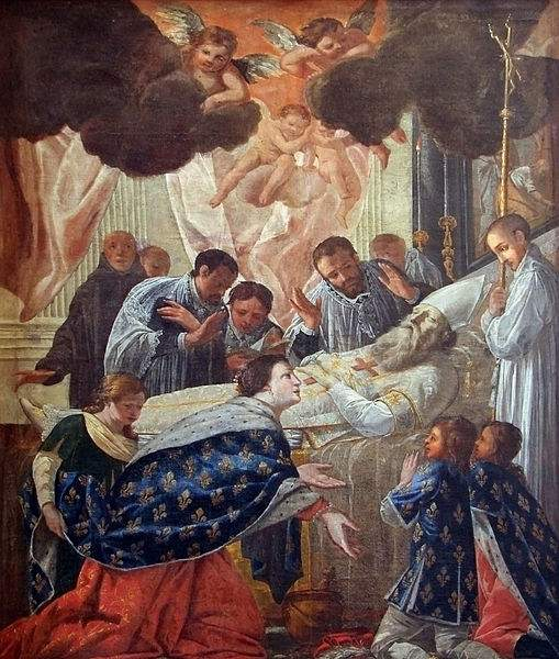 Queen Saint Balthild of Ascania at the deathbed of St. Eligius.