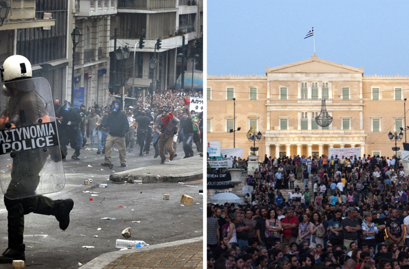 The protests of 2010 in Greece on the left and in 2011 on the right. Photo by Philly boy92.