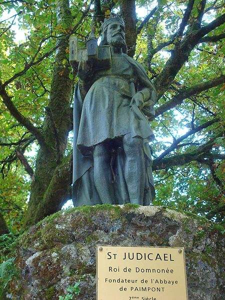 Statue of St. Judicael in the Paimpont, France, where St. Judicael founded Notre-Dame de Paimpont Abbey. Photo by Ex-Smith.