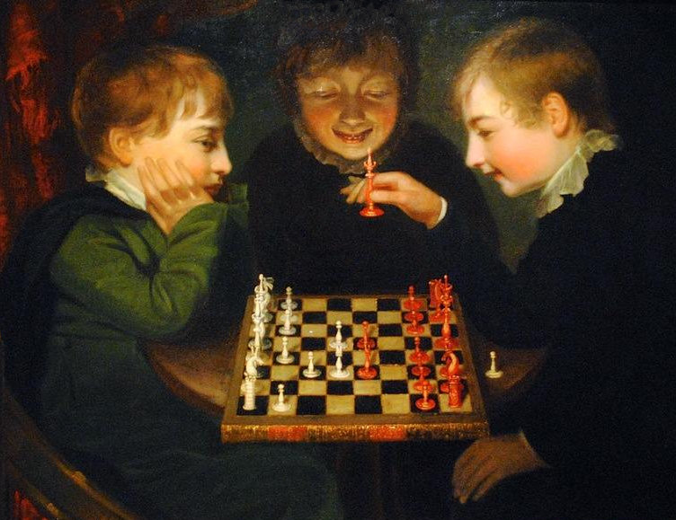 The game of chess, painted by John Opie.