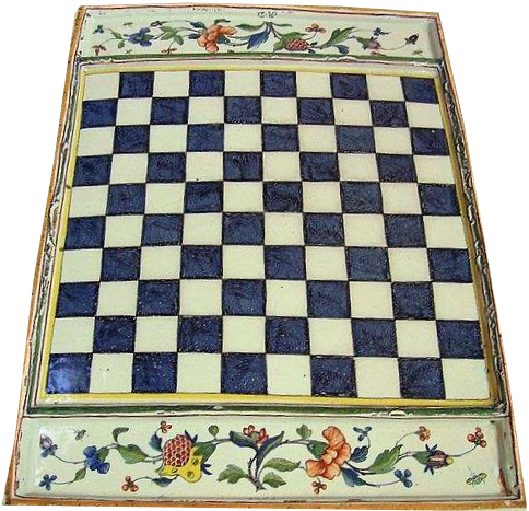 A 1765 faïence chessboard made in Rouen, France.