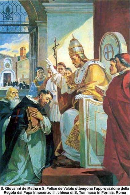 Pope Innocent III approving the Order of the Trinity for the Redemption of Captives for St. John Matha and St. Felix of Valois.