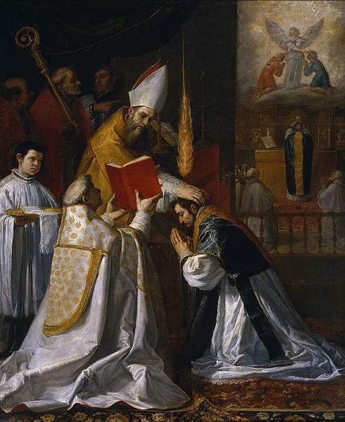 Ordination and First Mass of St. John of Matha, painted by Vicente Carducho.
