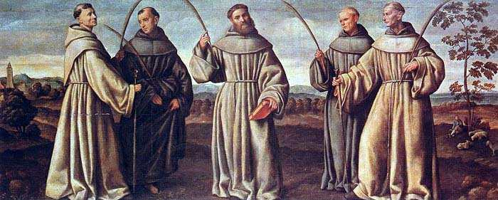 The Martyrs of Marrakesch, Franciscan friars. St. Berard of Carbio, O.F.M. and his companions, Peter, Otho, Accursius, and Adjutus.