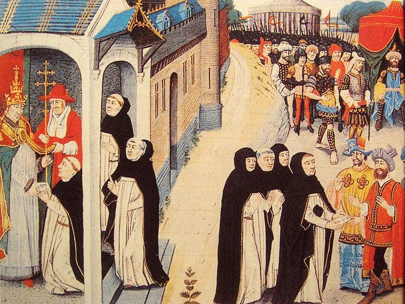 Ascelin of Cremone receiving a letter from Pope Innocent IV, and remitting it to the Mongol general Baiju.