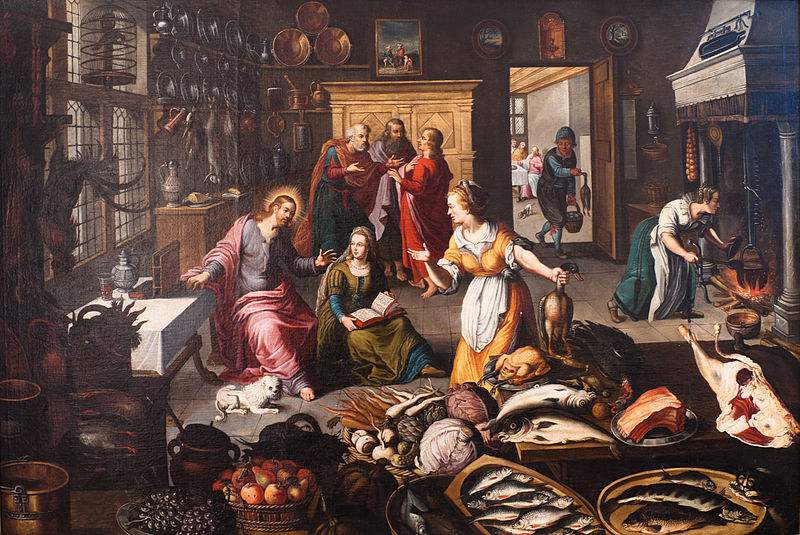Jesus in the house of Martha and Mary. (Luke 10:38-42) Painting by Joos Goemare