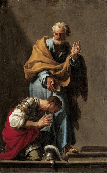 St. Peter Baptizing the Centurion Cornelius, painted by Francesco Trevisani.