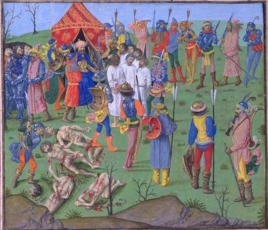 Battle of Nicopol, Bayezid ordering the dismembering and massacre of the Christians.
